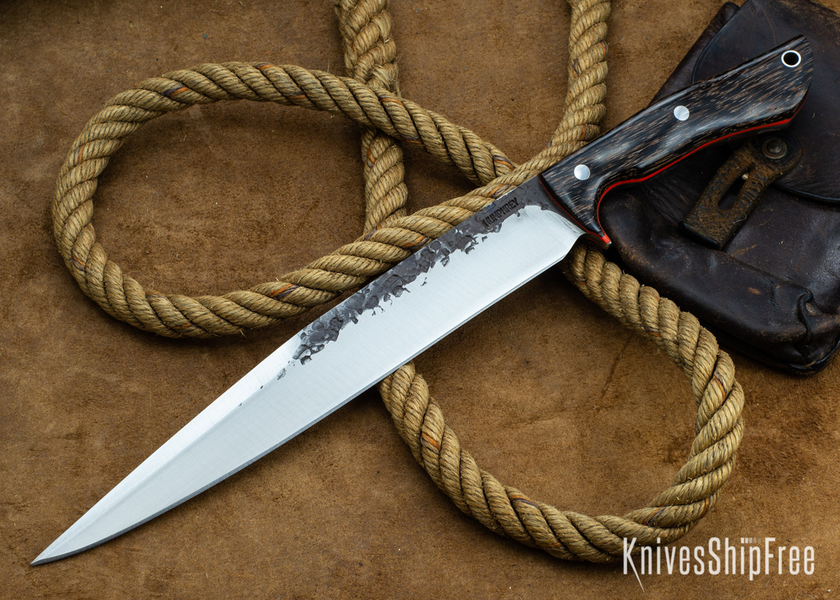 Lon Humphrey Knives: Bell Bowie - 52100 - Black Palm - Orange Liners - 030249 primary image