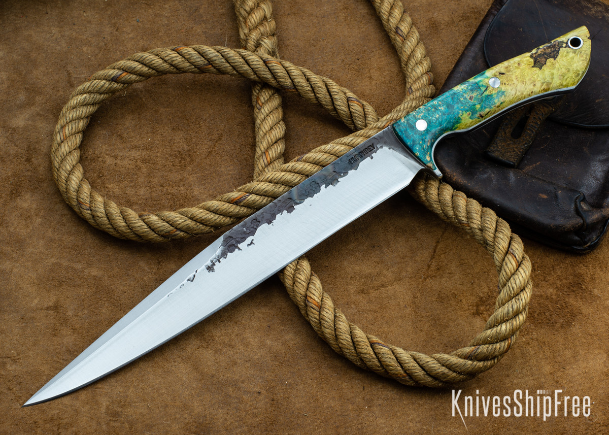 Lon Humphrey Knives: Bell Bowie - 52100 - Gold & Blue Box Elder Burl - White Liners - 030270 primary image