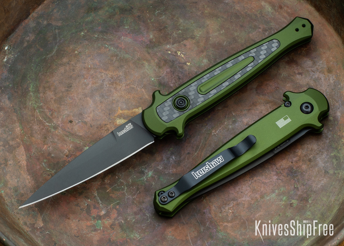 Kershaw Knives: Launch 8 Stiletto - Olive Green Aluminum - Carbon Fiber Inlay - Black Blade - CPM-154 - Stonewash - 7150OLBLK primary image