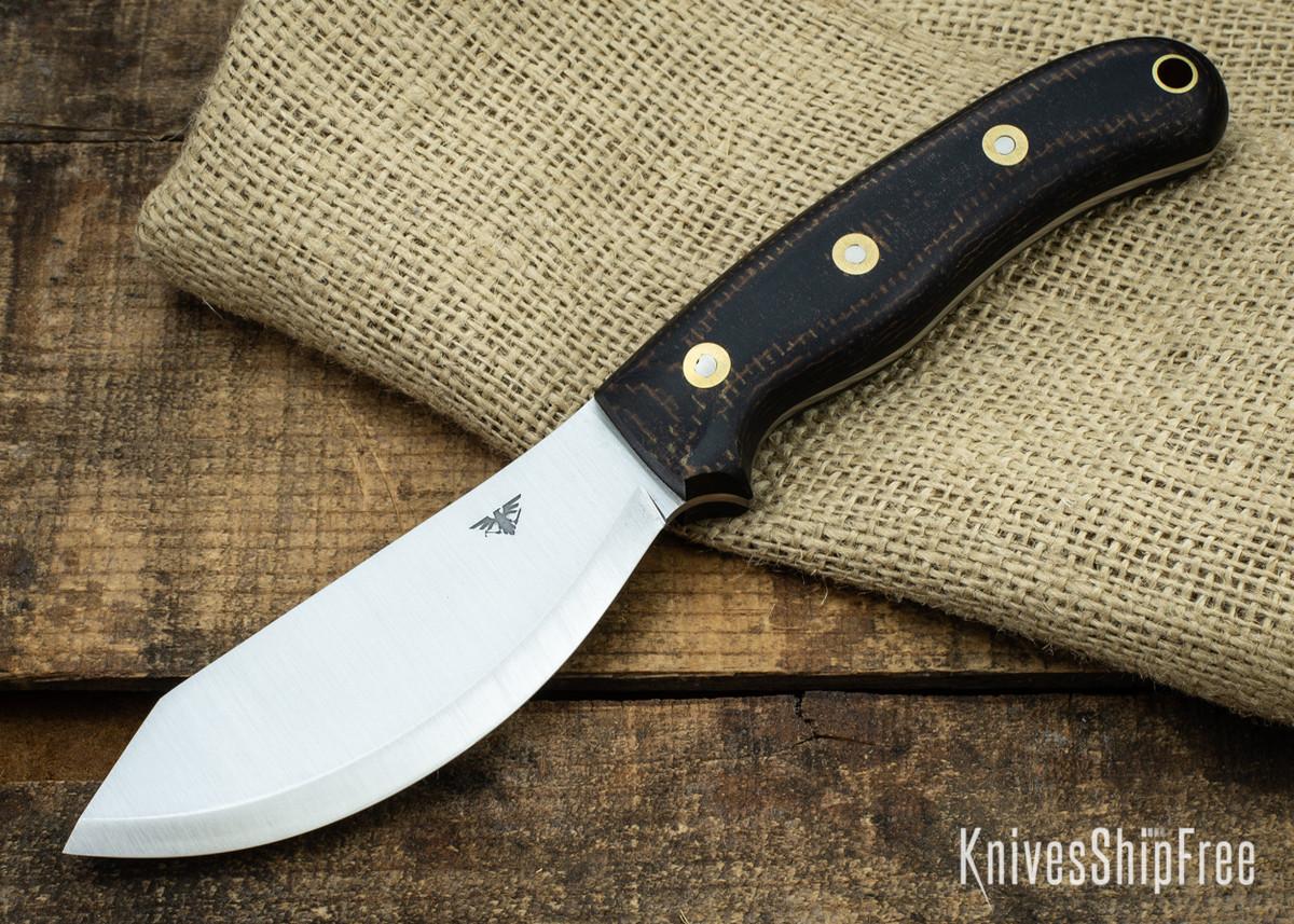 L.T. Wright Knives: JX2 Jessmuk - CPM 3V - Black / Brown Layered Micarta - Matte primary image