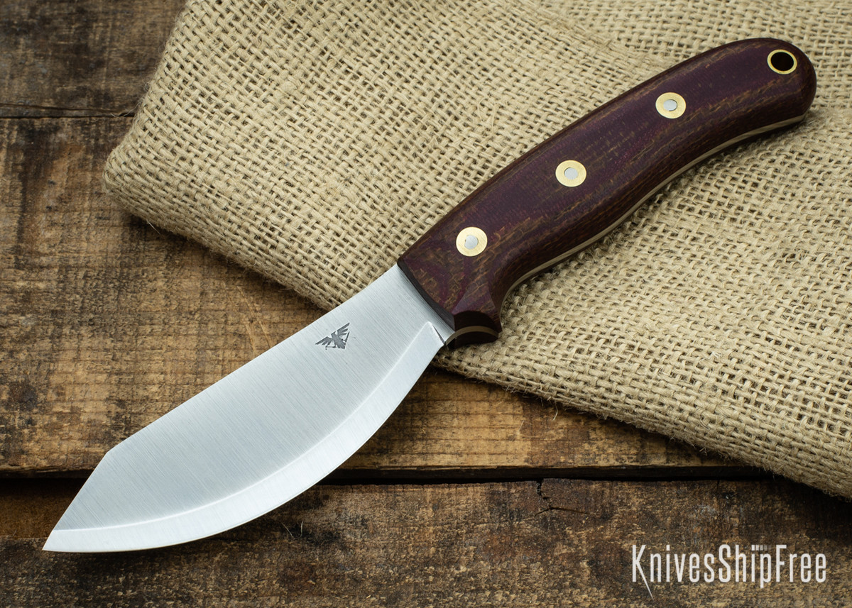 L.T. Wright Knives: JX2 Jessmuk - CPM 3V - Red / Brown Layered Micarta - Matte primary image