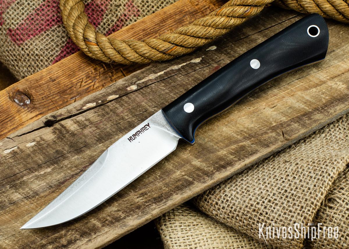 Lon Humphrey Knives: Minuteman 3V - Black Micarta - Blue Liners - 050402 primary image