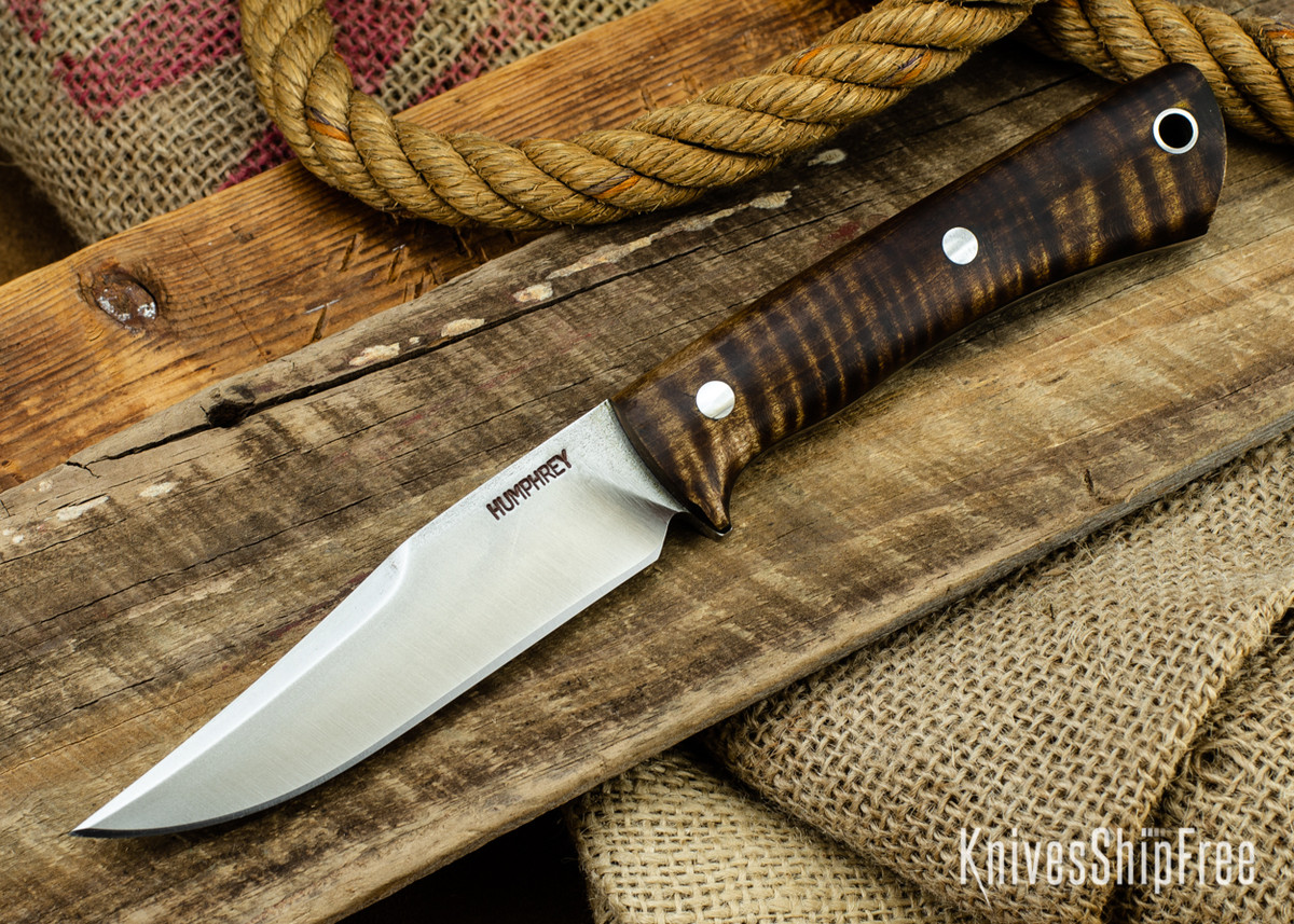 Lon Humphrey Knives: Minuteman 3V - Dark Curly Maple - Black Liners - 050426 primary image