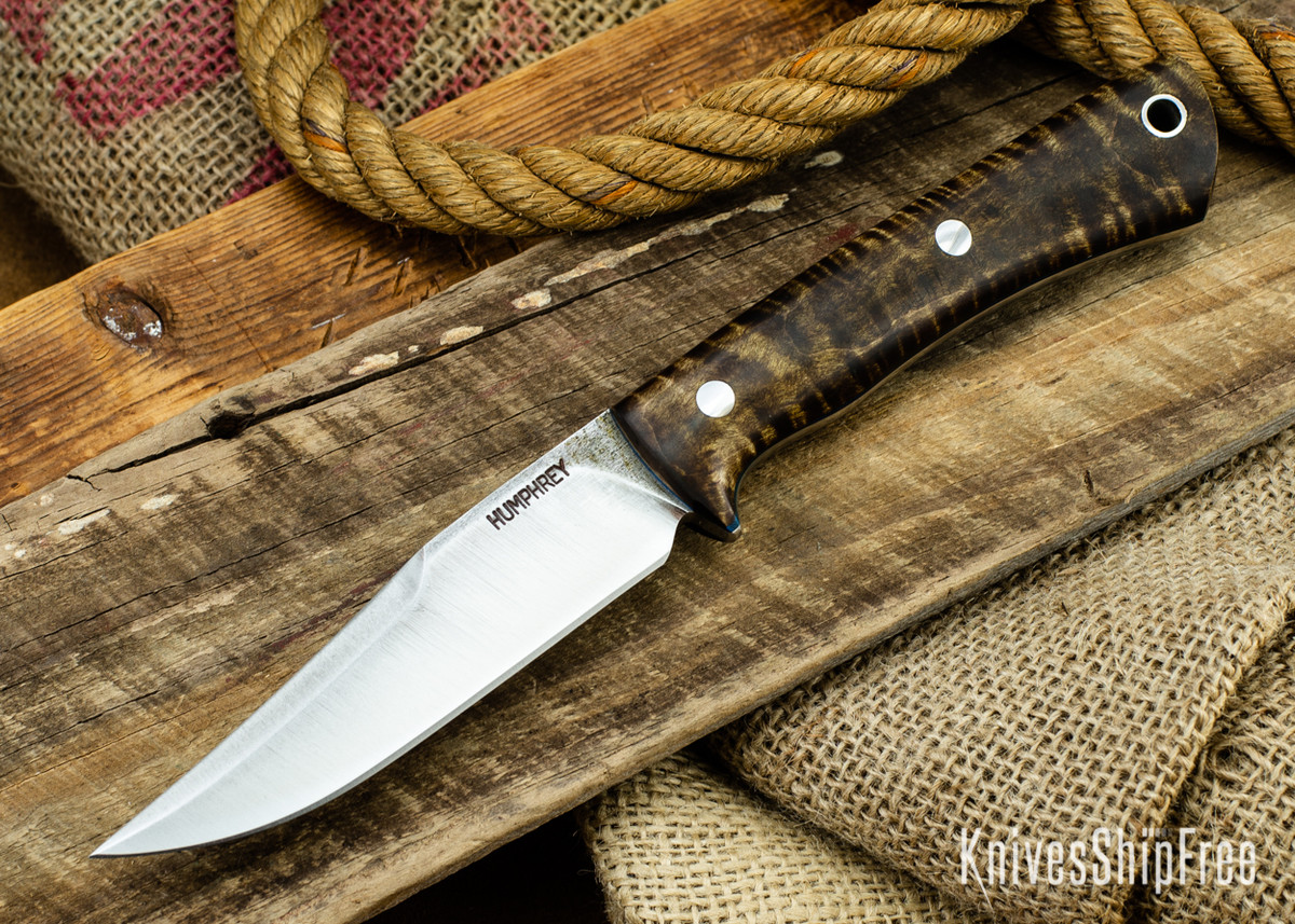 Lon Humphrey Knives: Minuteman 3V - Dark Curly Maple - Blue Liners - 050433 primary image
