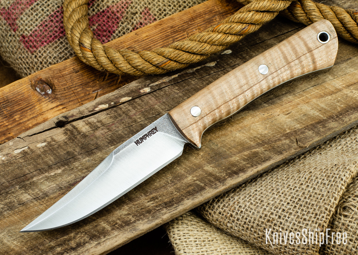 Lon Humphrey Knives: Minuteman 3V - Dark Curly Maple - White Liners - 050445 primary image