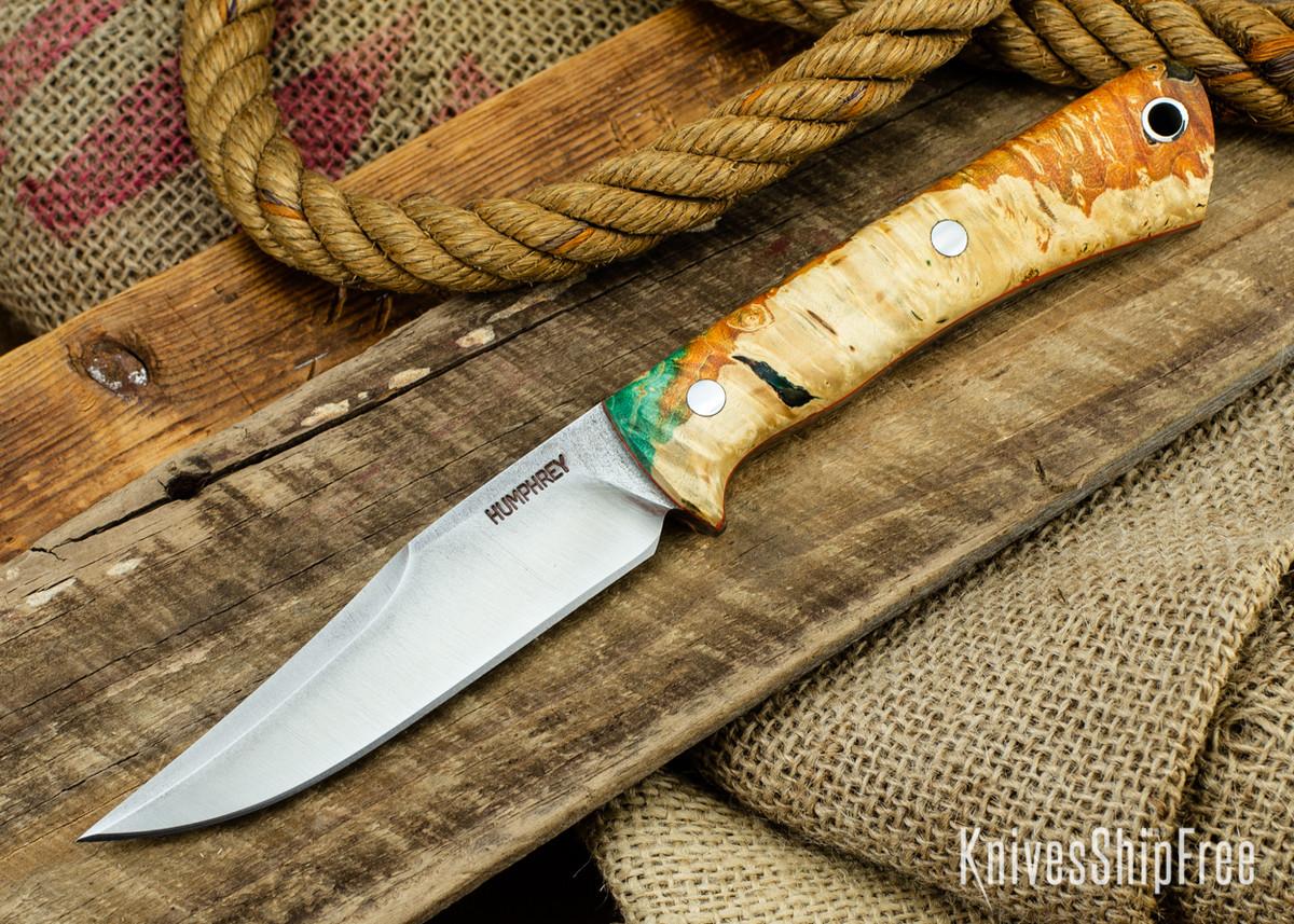 Lon Humphrey Knives: Minuteman 3V - Green & Orange Box Elder Burl - Orange Liners - 050487 primary image