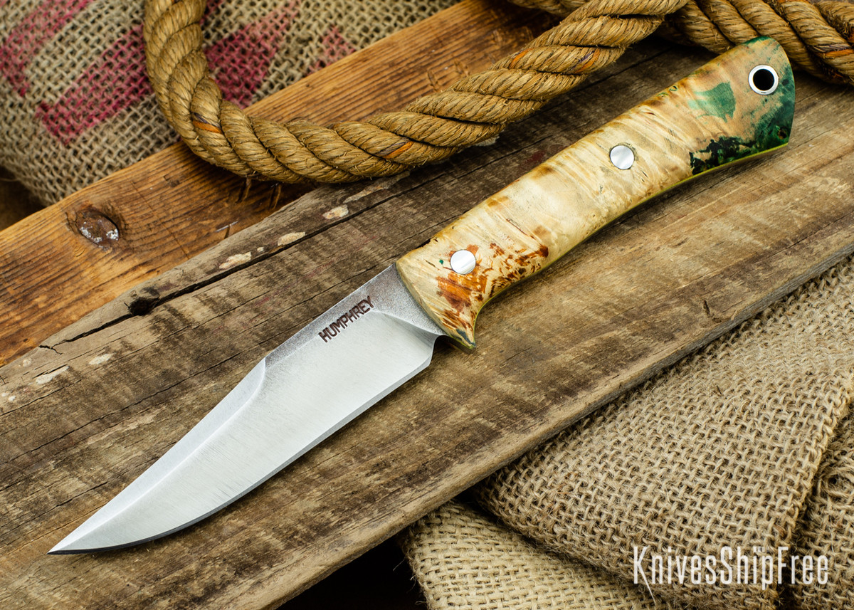 Lon Humphrey Knives: Minuteman 3V - Green & Orange Box Elder Burl - Yellow Liners - 050488 primary image