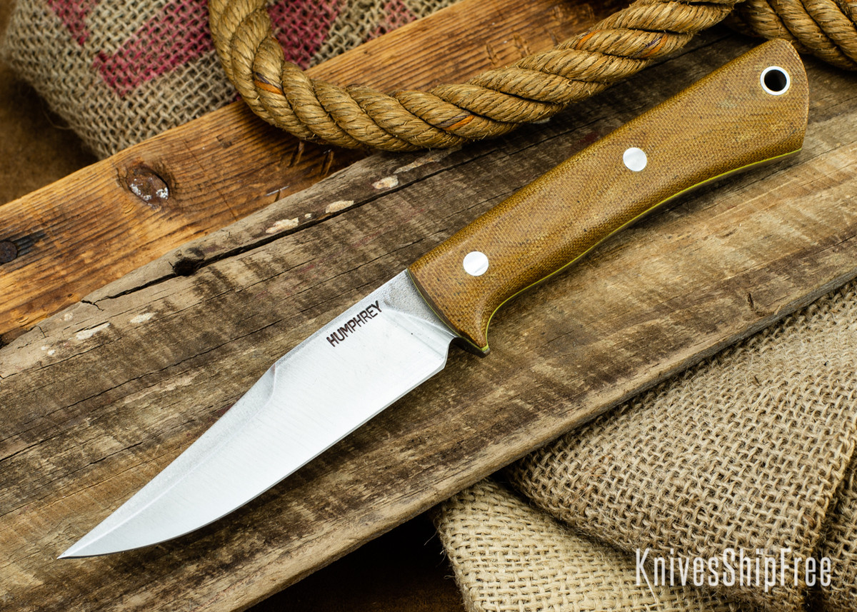Lon Humphrey Knives: Minuteman 3V - Natural Micarta - Yellow Liners - 050500