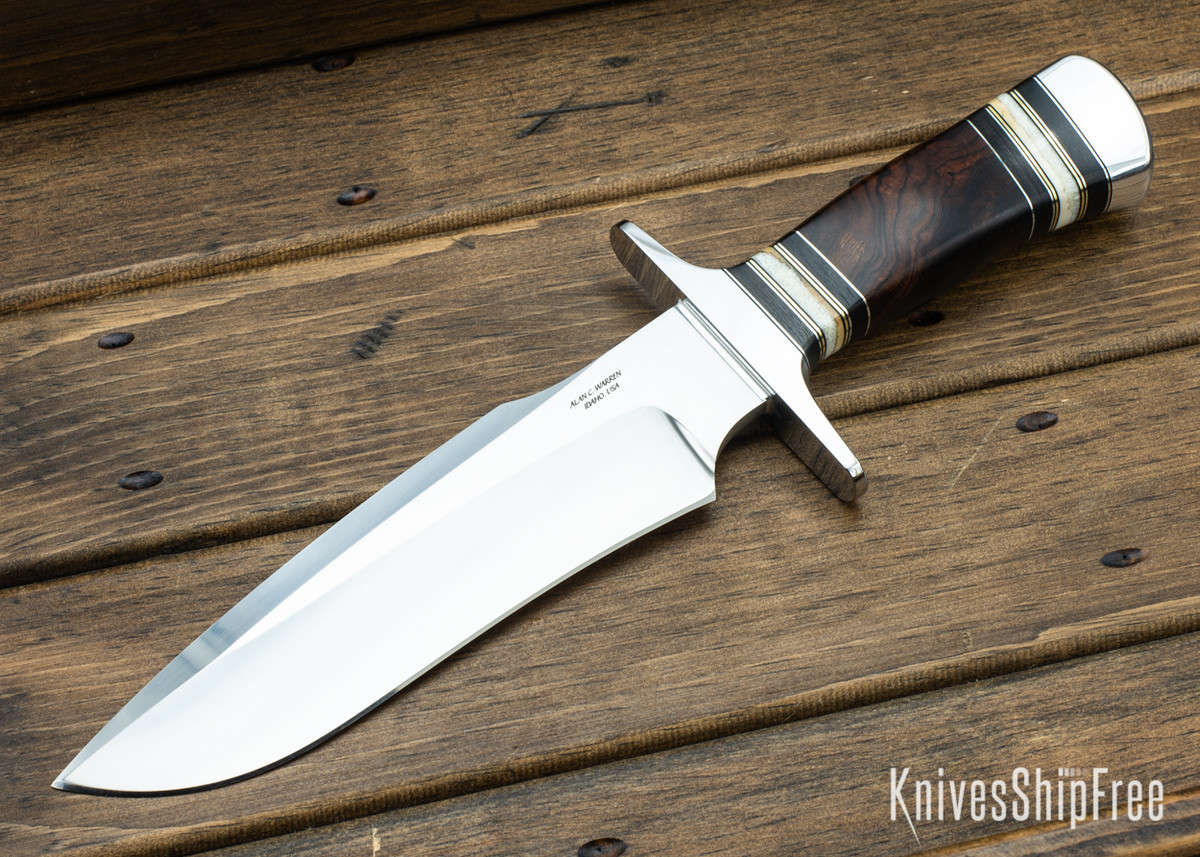 Alan Warren Custom Knives: #2347 Camp Bowie - Ironwood & Blackwood - Fossil Walrus Tusk Spacers - CPM-154 primary image