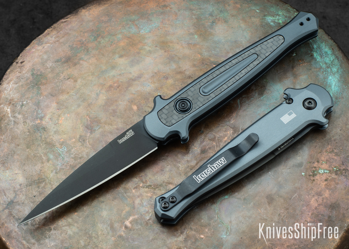 Kershaw Knives: Launch 8 Stiletto - Gray Aluminum - Carbon Fiber Inlay - CPM-154 - Black DLC - 7150GRYBLK primary image