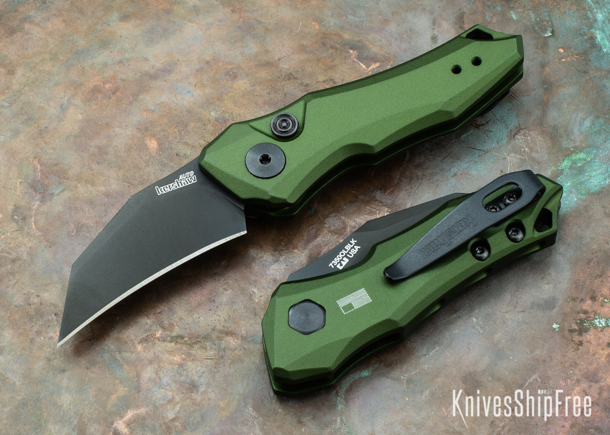 Kershaw Knives: Launch 10 - Olive Green Aluminum - Black DLC - 7350OLBLK primary image