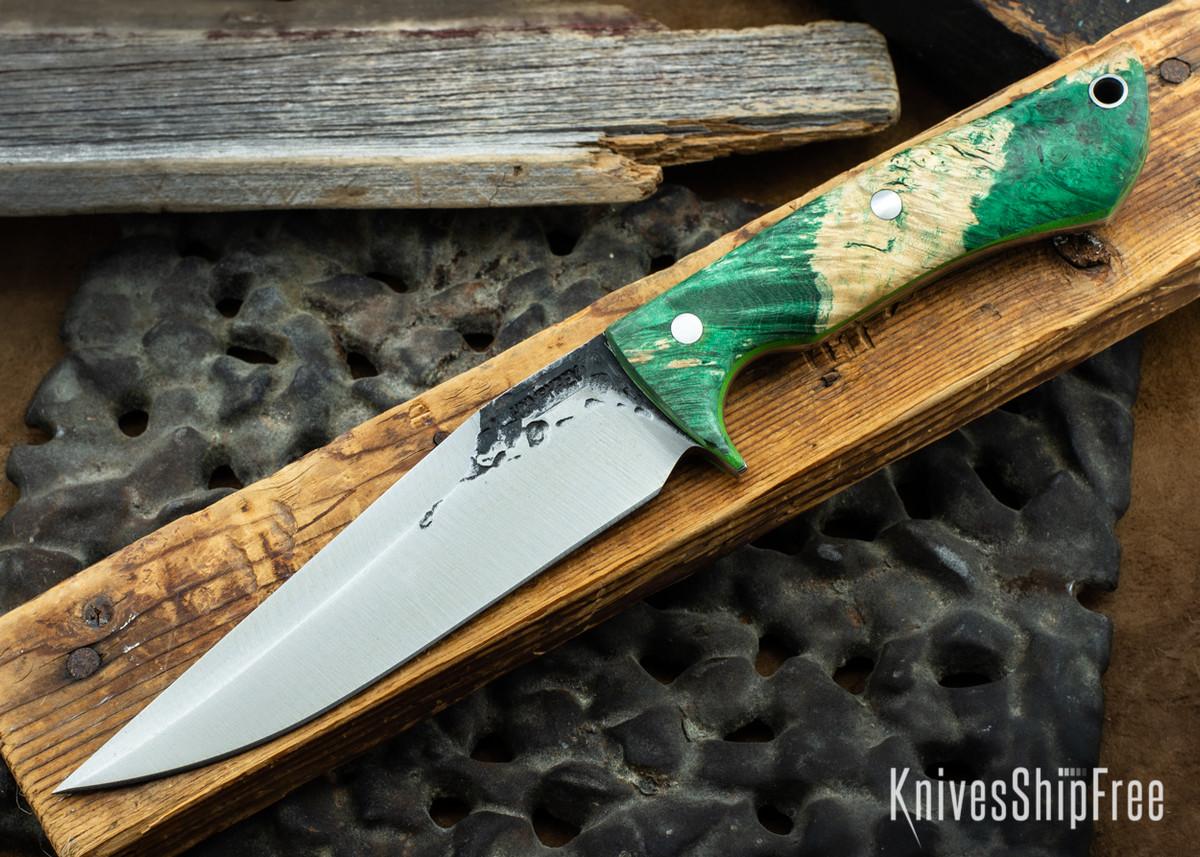 Lon Humphrey Knives: Monitor - 52100 - Green & Black Box Elder Burl - Lime Green Liners - 072004 primary image