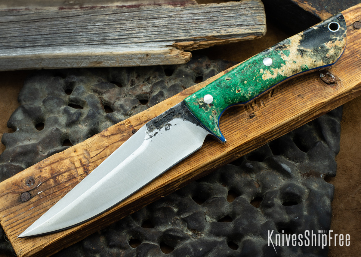 Lon Humphrey Knives: Monitor - 52100 - Green & Black Box Elder Burl - Blue Liners - 072014 primary image