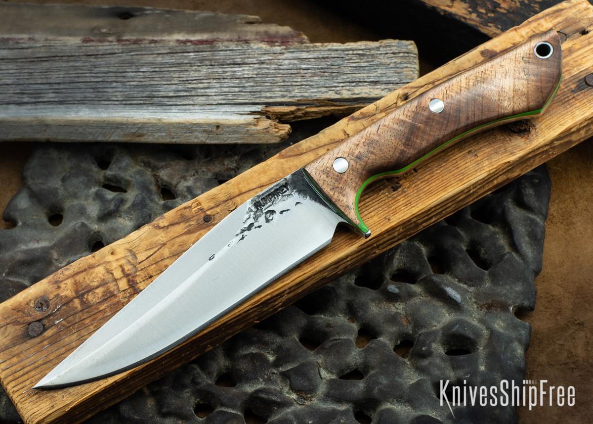 Lon Humphrey Knives: Monitor - 52100 - Tasmanian Blackwood - Lime Green Liners - 072104 primary image