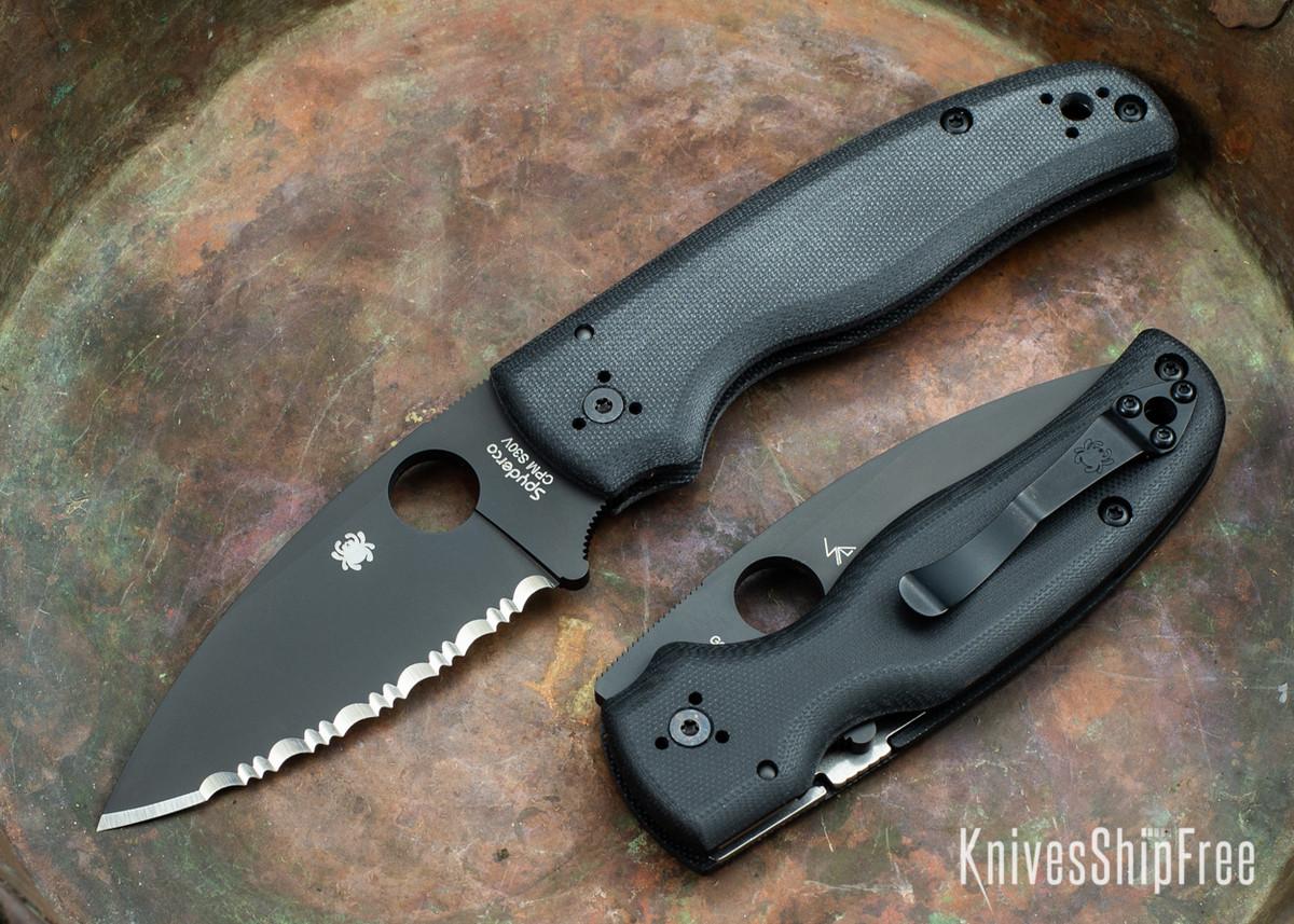 Spyderco: Shaman - Black G-10 - Black Serrated Blade - CPM-S30V - C229GSBK primary image