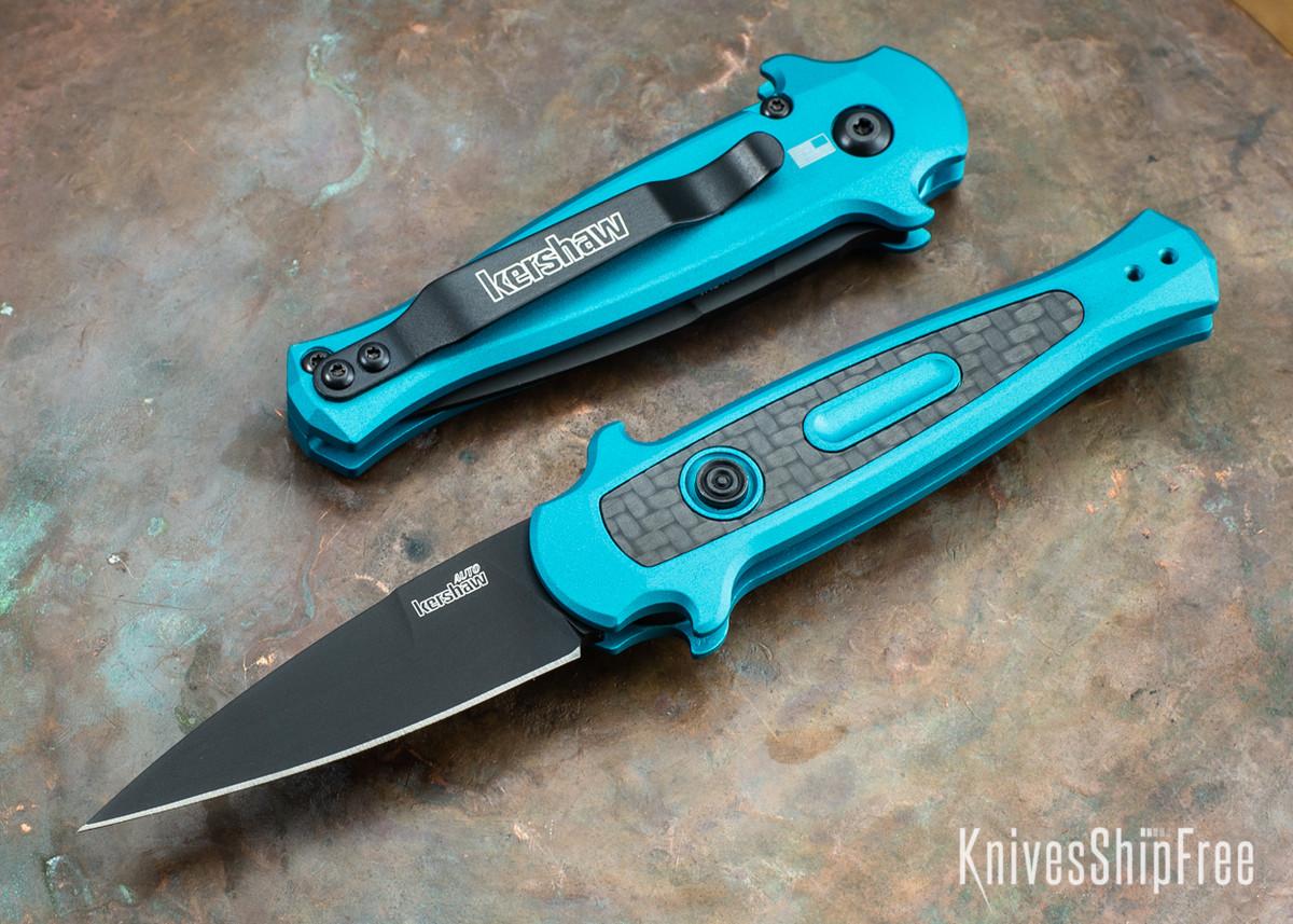 Kershaw Knives: Launch 12 Auto - Mini Stiletto - Teal Aluminum - Black Blade - CPM-154 - 7125TEALBLK primary image