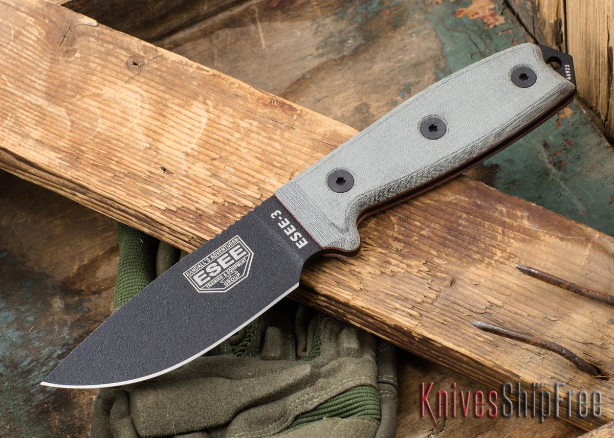 ESEE Knives: ESEE-3P - Black Blade - Coyote Brown Sheath primary image
