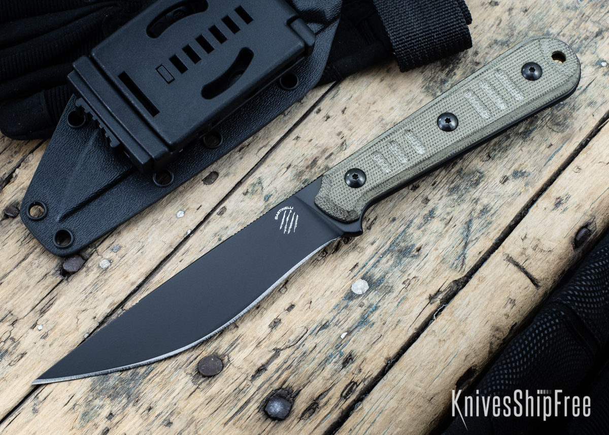 Bastinelli Knives: Silence Slim - N690co - Black Idroglider Finish - OD Green Micarta primary image