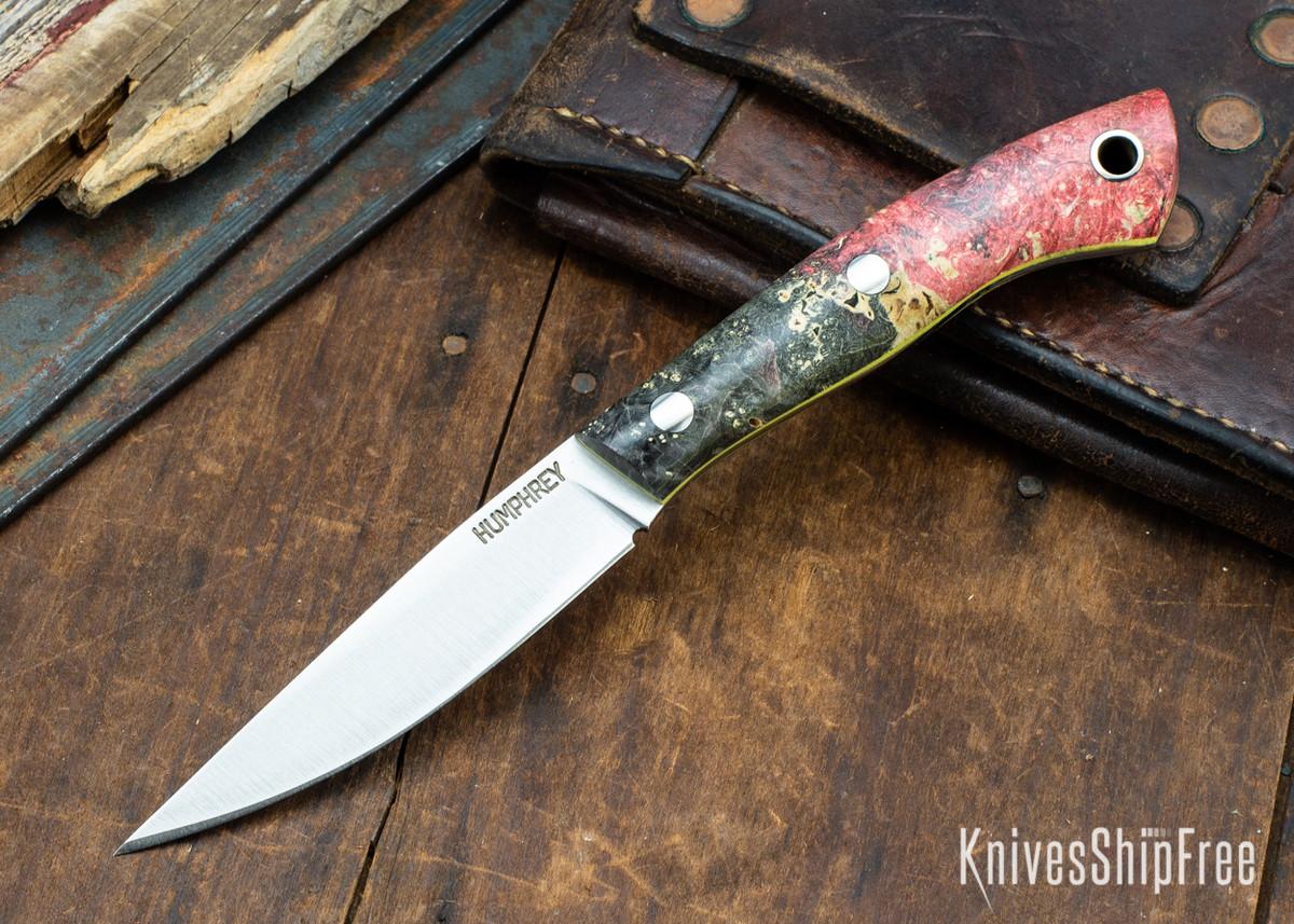 Lon Humphrey Knives: Bird & Trout AEB-L - Red & Black Box Elder Burl - Yellow Liners - 092872 primary image