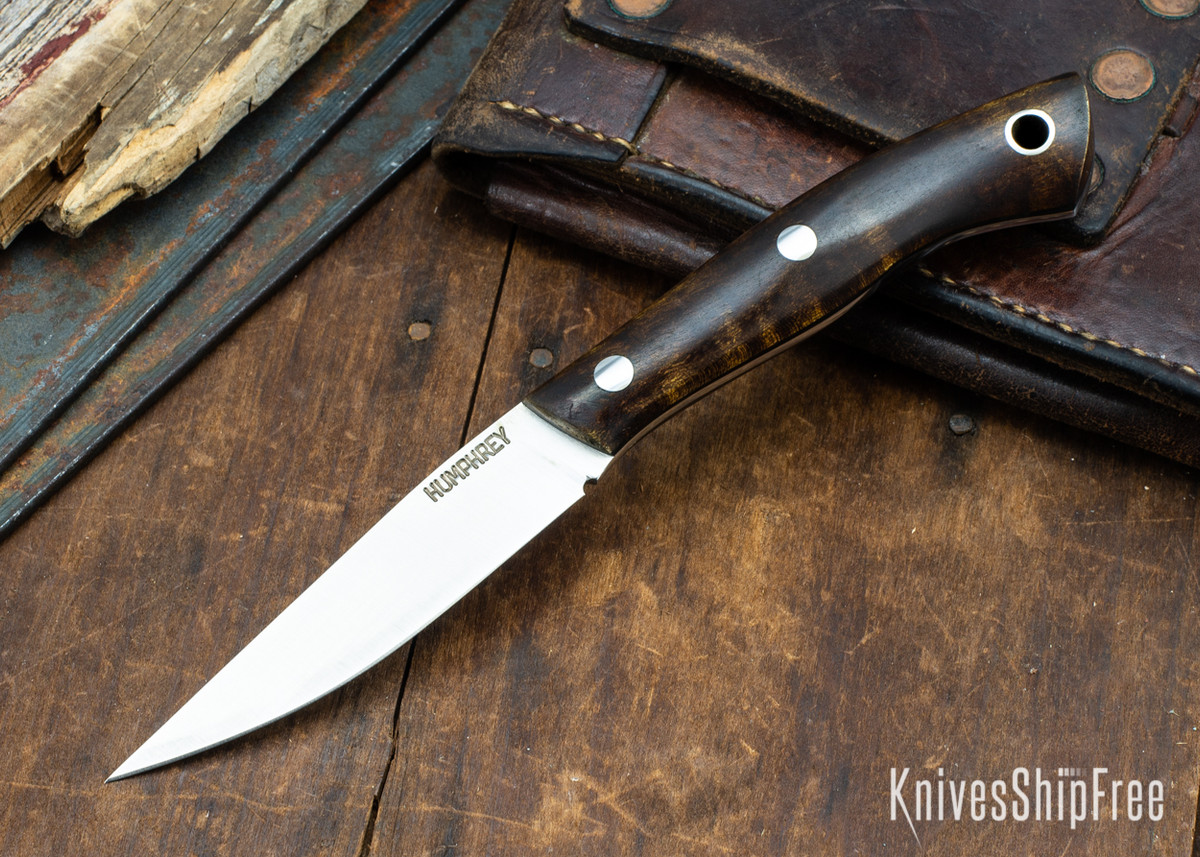 Lon Humphrey Knives: Bird & Trout AEB-L - Dark Curly Maple - Black Liners - 092914 primary image