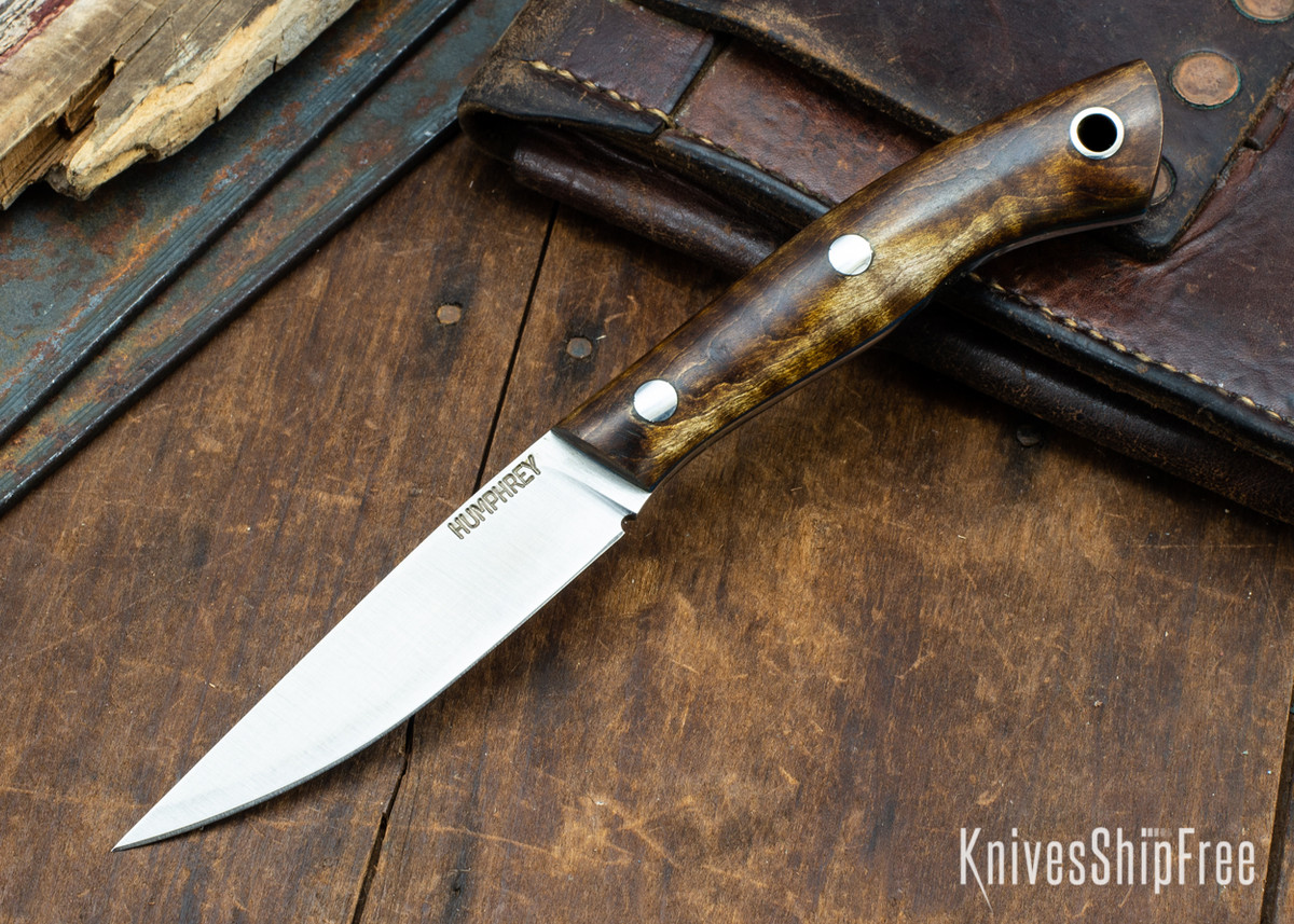 Lon Humphrey Knives: Bird & Trout AEB-L - Dark Curly Maple - Blue Liners - 092934 primary image