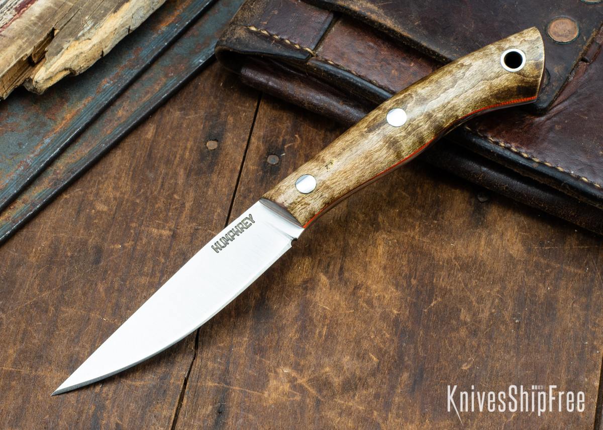 Lon Humphrey Knives: Bird & Trout AEB-L - Dark Curly Maple - Orange Liners - 092936 primary image