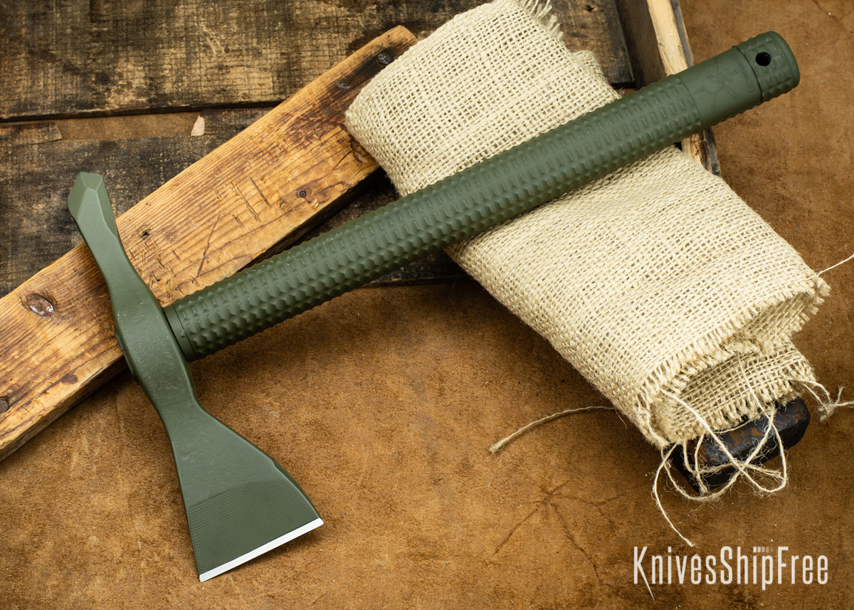 American Tomahawk: Model 1 - OD Green Supertough Nylon Handle - Drop-Forged 1060 Steel - Black Powdercoat