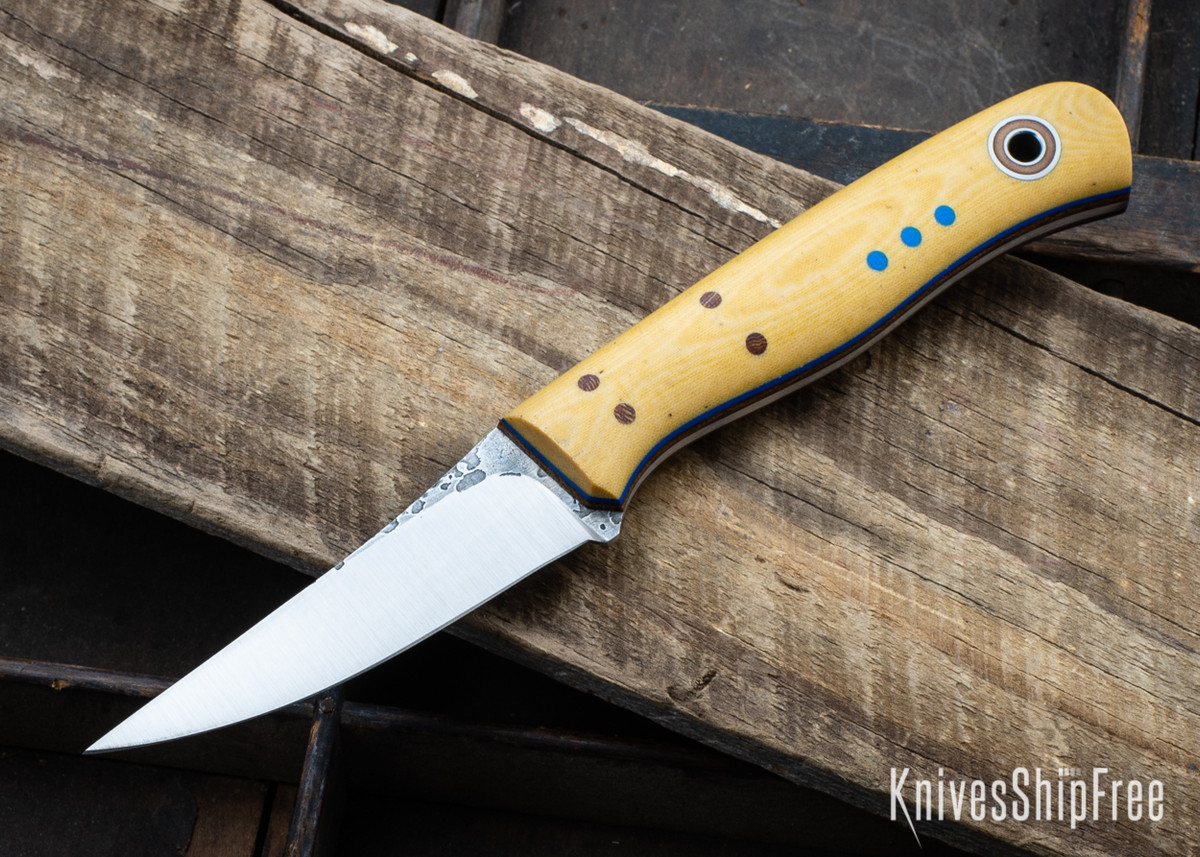 Fiddleback Forge: F2 - Ivory Micarta - Natural & Blue Liners - A2 Tool Steel primary image