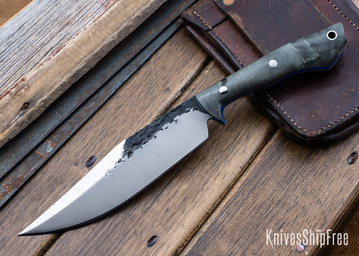 Lon Humphrey Knives: Hickok - Forged 52100 - Black Storm Maple - Blue Liners - 120334 primary image