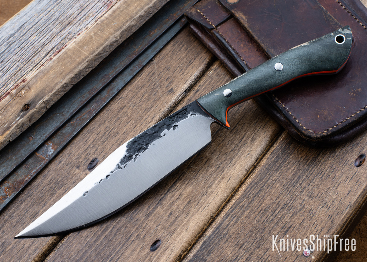 Lon Humphrey Knives: Hickok - Forged 52100 - Black Storm Maple - Orange Liners - 120341 primary image