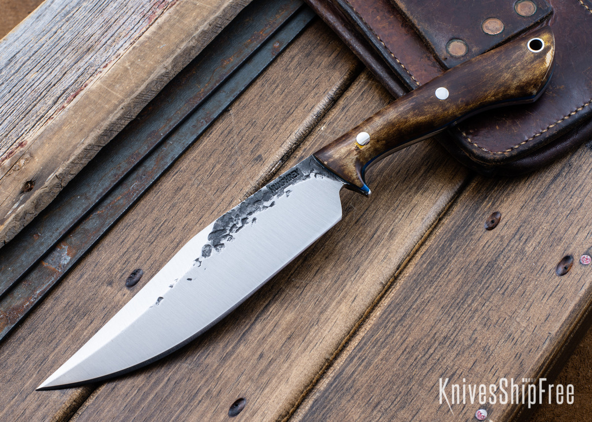 Lon Humphrey Knives: Hickok - Forged 52100 - Dark Curly Maple - Blue Liners - 120358 primary image