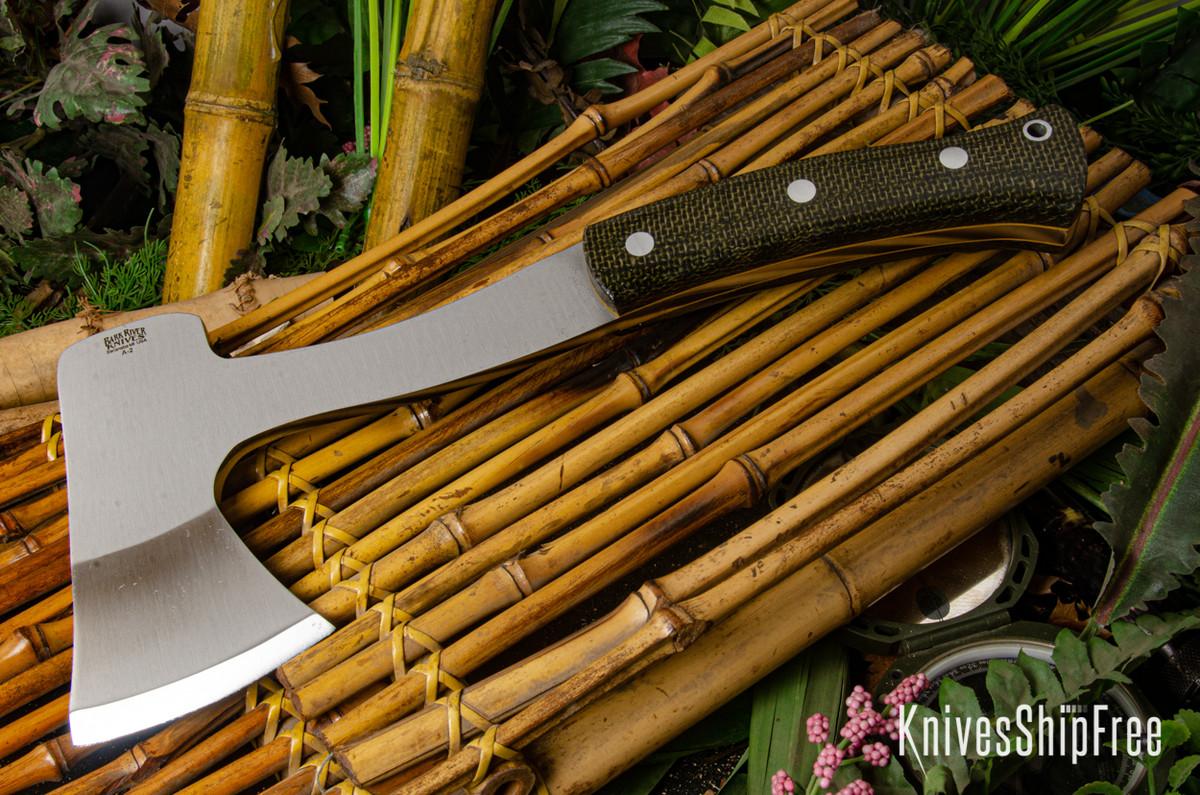 Bark River Knives: Hunter's Ax - Evergreen Burlap Micarta - Yellow Liners primary image