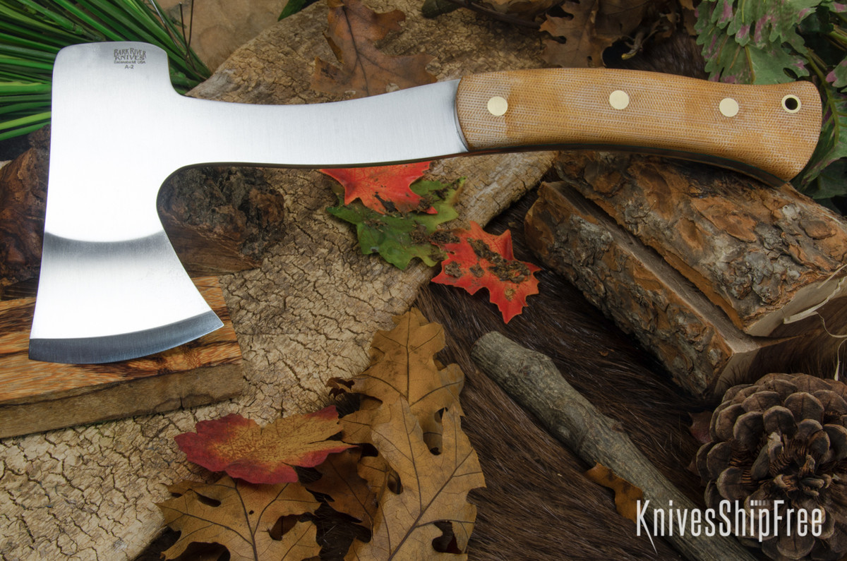 Bark River Knives: Hunter's Ax - Natural Canvas Micarta - Green Liners - Brass Pins - Matte primary image