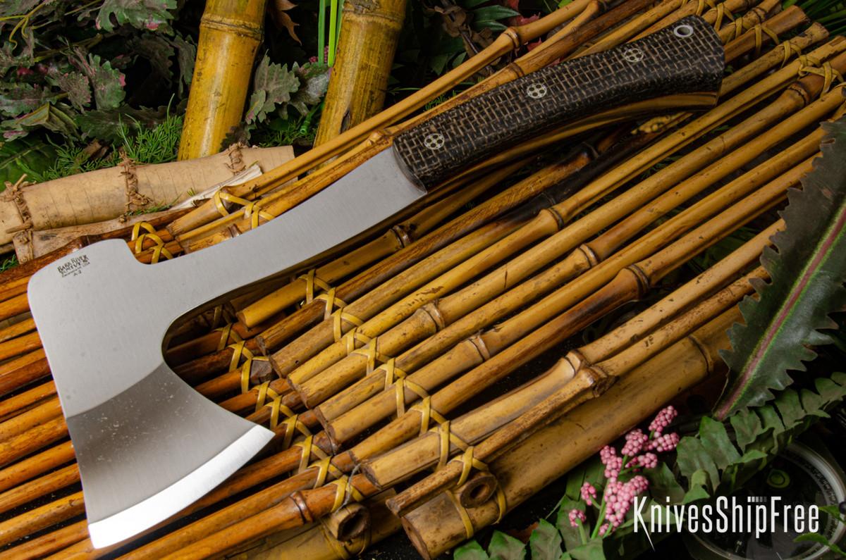 Bark River Knives: Hunter's Ax - Smoke Burlap Micarta - Natural Liners - Mosaic Pins primary image