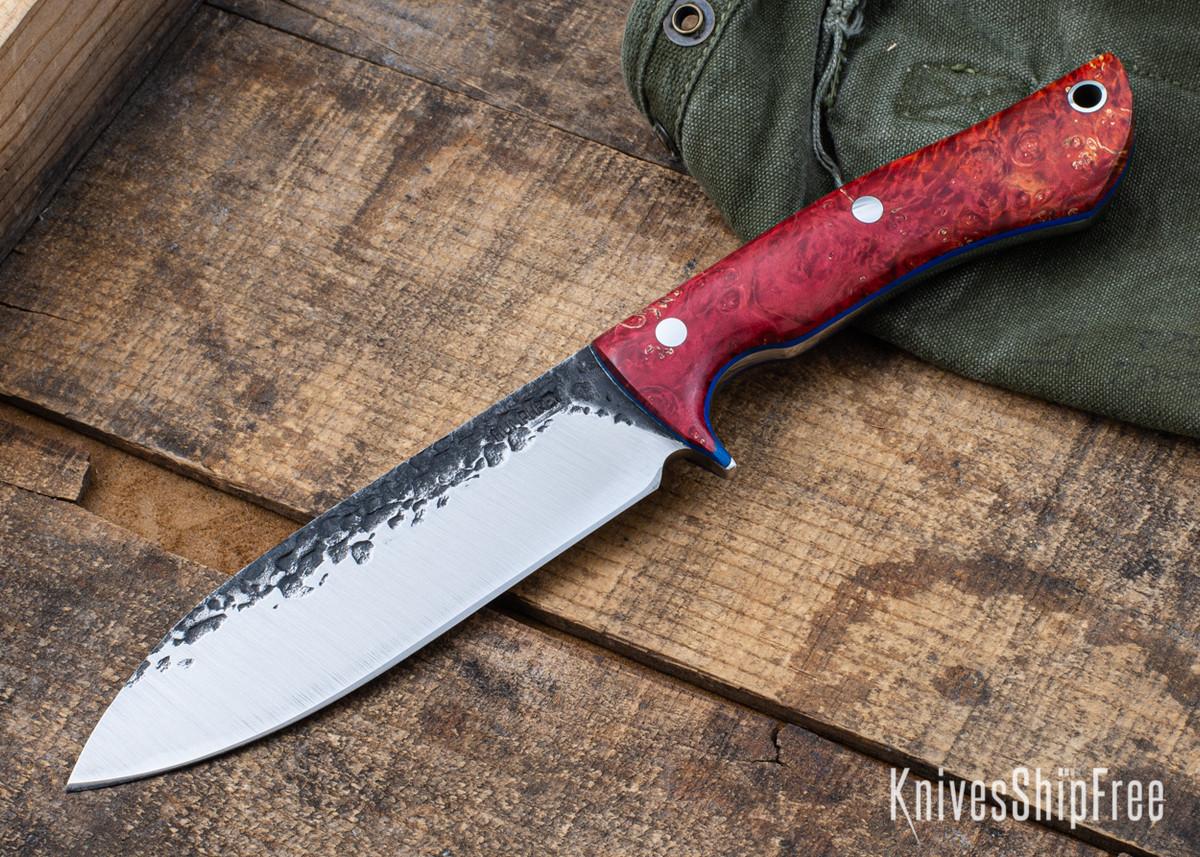 Lon Humphrey Knives: Alpha - Forged 52100 - Red & Orange Box Elder Burl - Blue Liners - LH25AG040 primary image