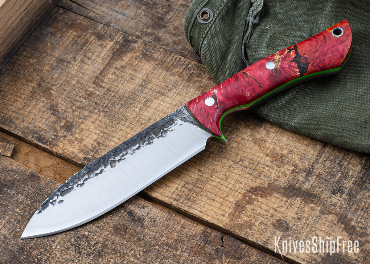 Lon Humphrey Knives: Alpha - Forged 52100 - Red & Orange Box Elder Burl - Lime Green Liners - LH25AG045 primary image