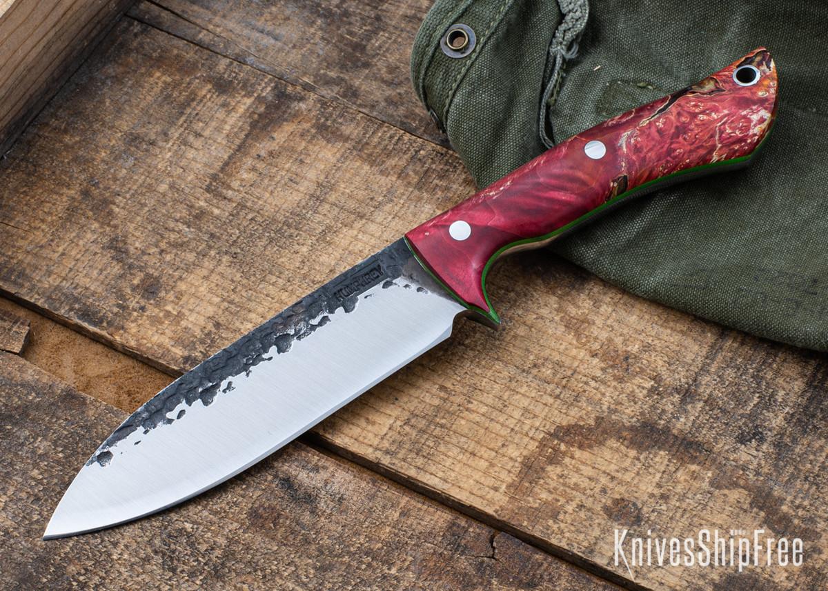 Lon Humphrey Knives: Alpha - Forged 52100 - Red & Orange Box Elder Burl - Lime Green Liners - LH25AG046 primary image