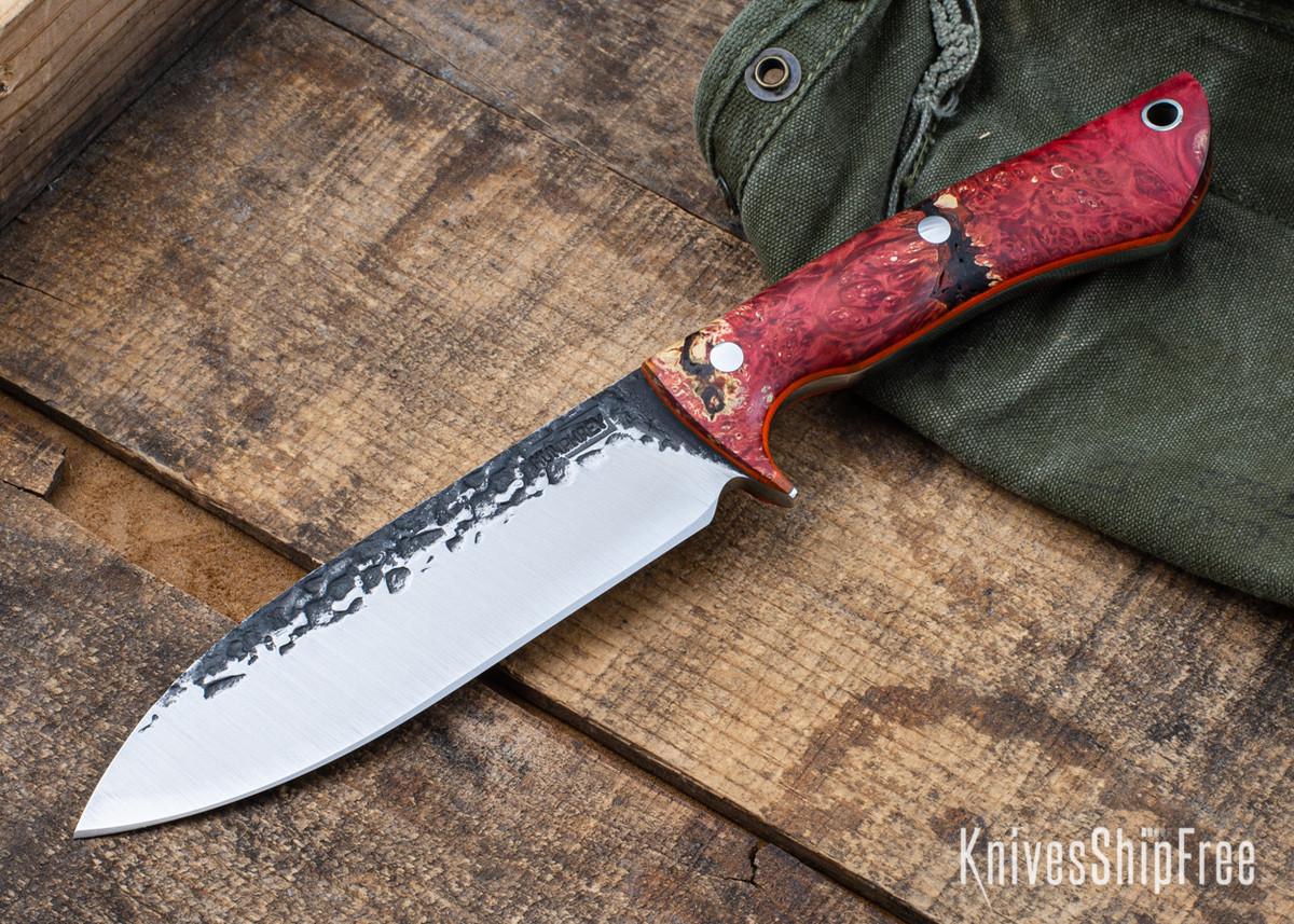 Lon Humphrey Knives: Alpha - Forged 52100 - Red & Orange Box Elder Burl - Orange Liners - LH25AG048 primary image