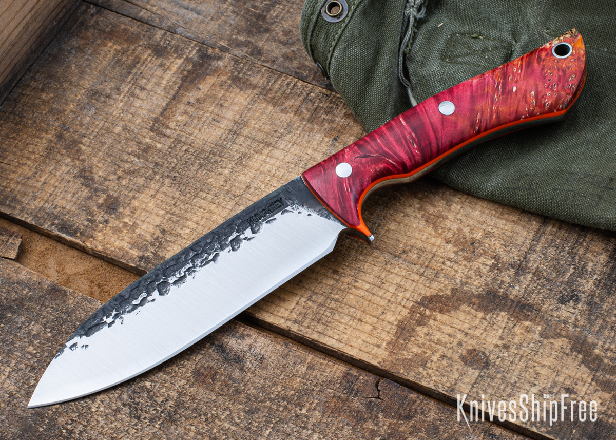 Lon Humphrey Knives: Alpha - Forged 52100 - Red & Orange Box Elder Burl - Orange Liners - LH25AG051 primary image