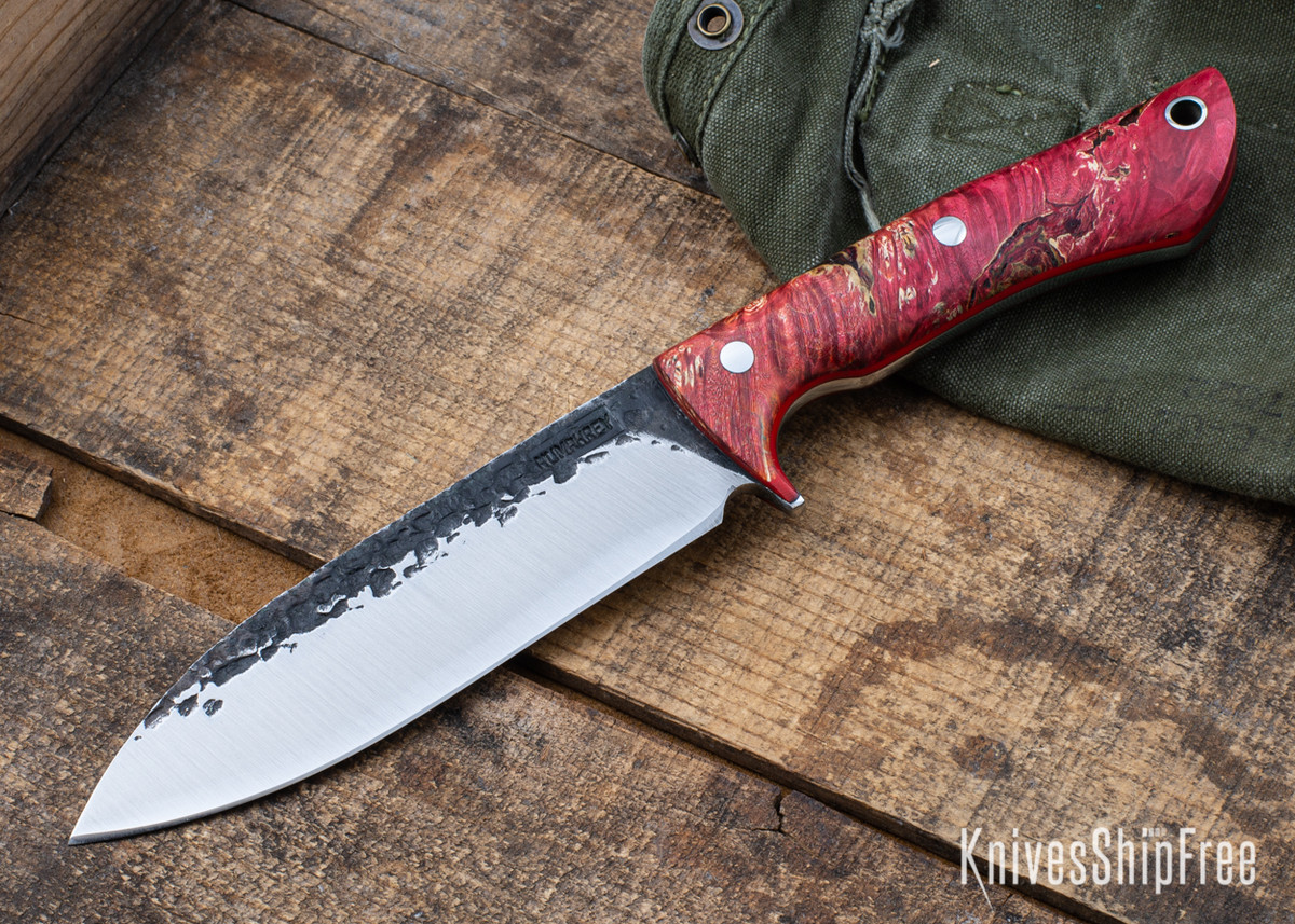 Lon Humphrey Knives: Alpha - Forged 52100 - Red & Orange Box Elder Burl - Red Liners - LH25AG054 primary image