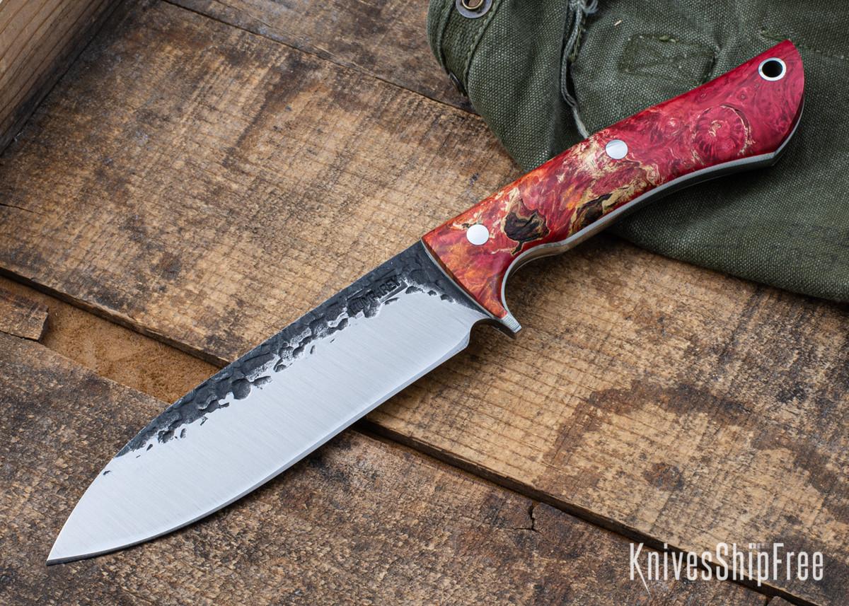 Lon Humphrey Knives: Alpha - Forged 52100 - Red & Orange Box Elder Burl - White Liners - LH25AG055 primary image