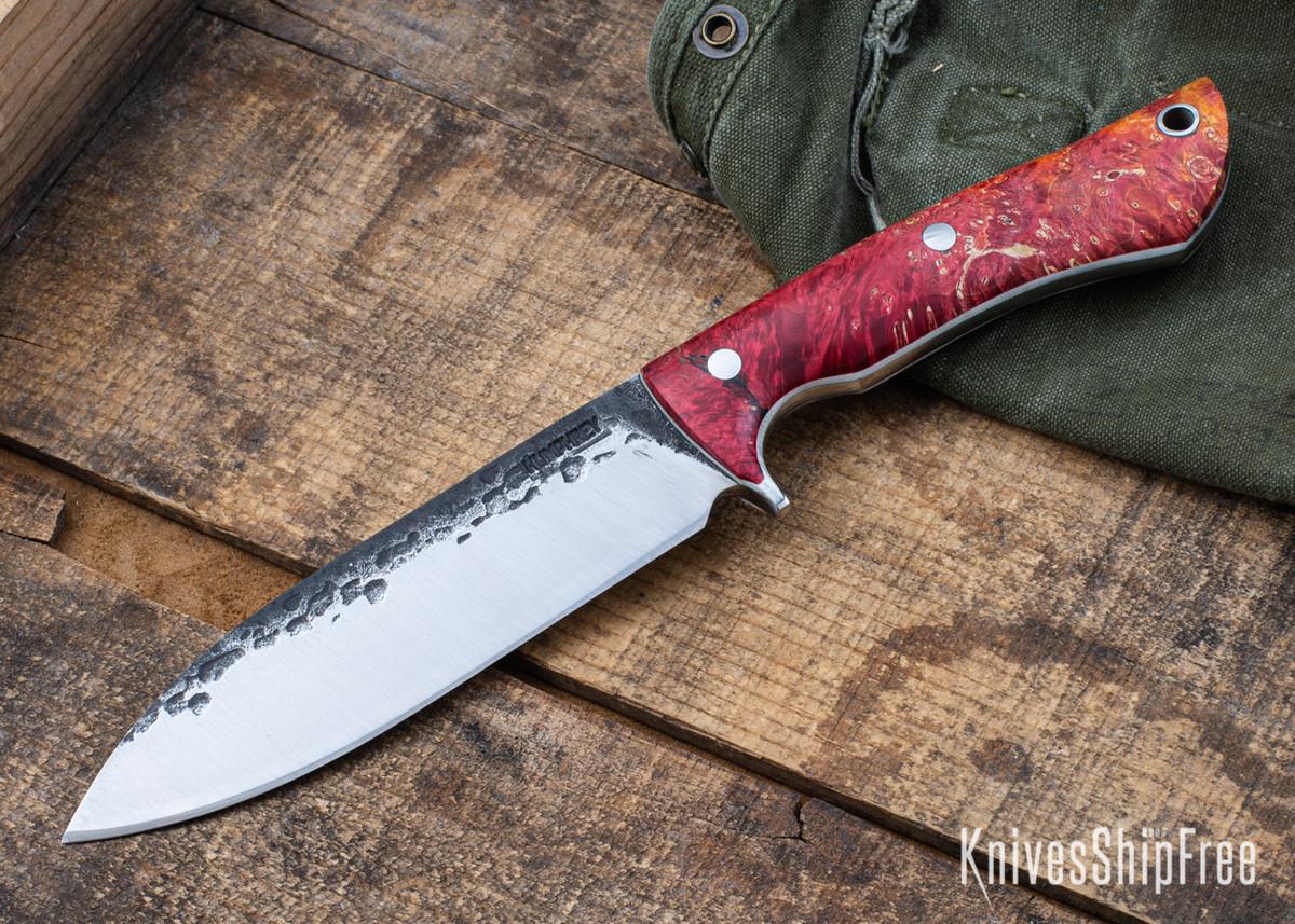 Lon Humphrey Knives: Alpha - Forged 52100 - Red & Orange Box Elder Burl - White Liners - LH25AG056 primary image