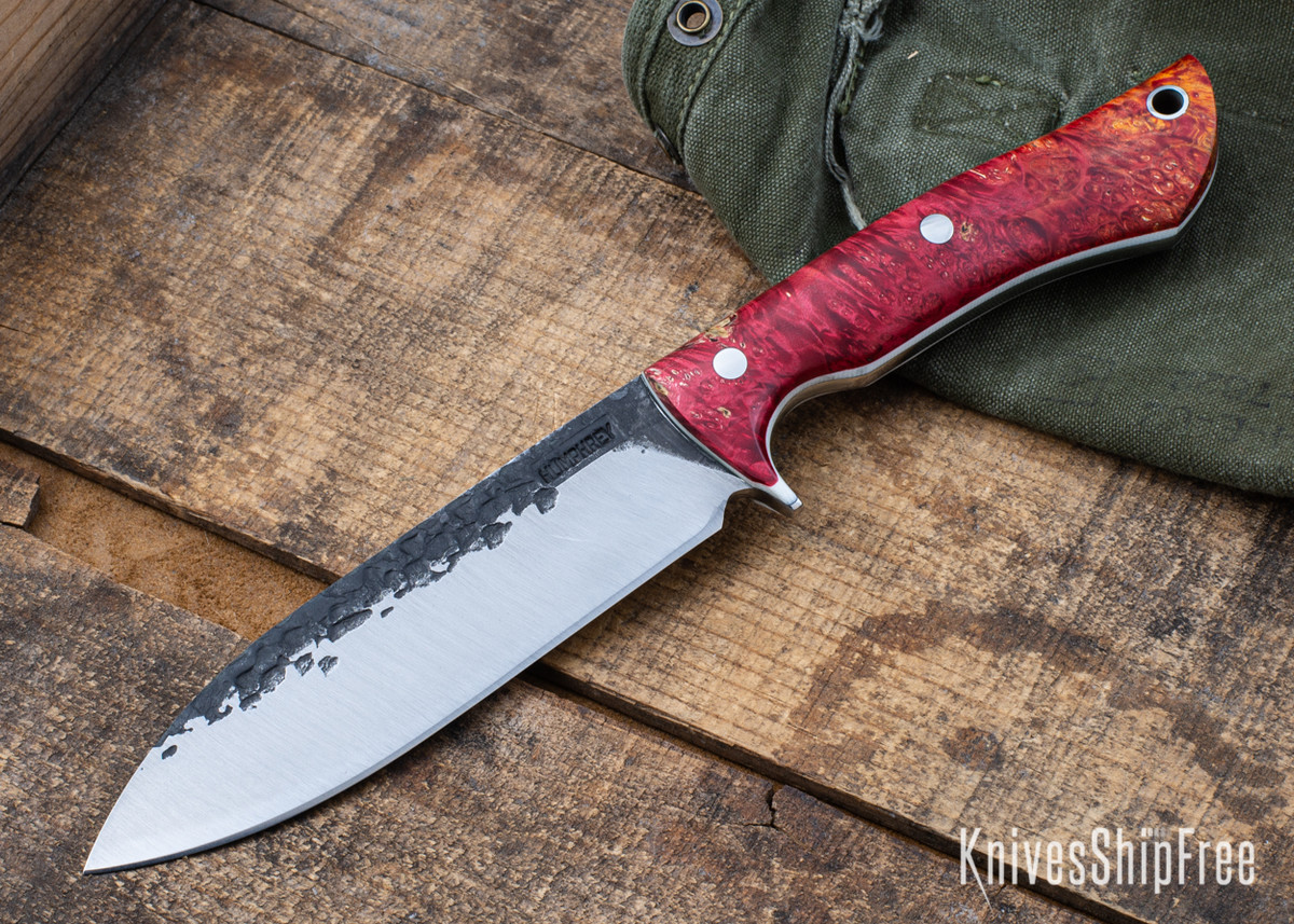 Lon Humphrey Knives: Alpha - Forged 52100 - Red & Orange Box Elder Burl - White Liners - LH25AG058 primary image