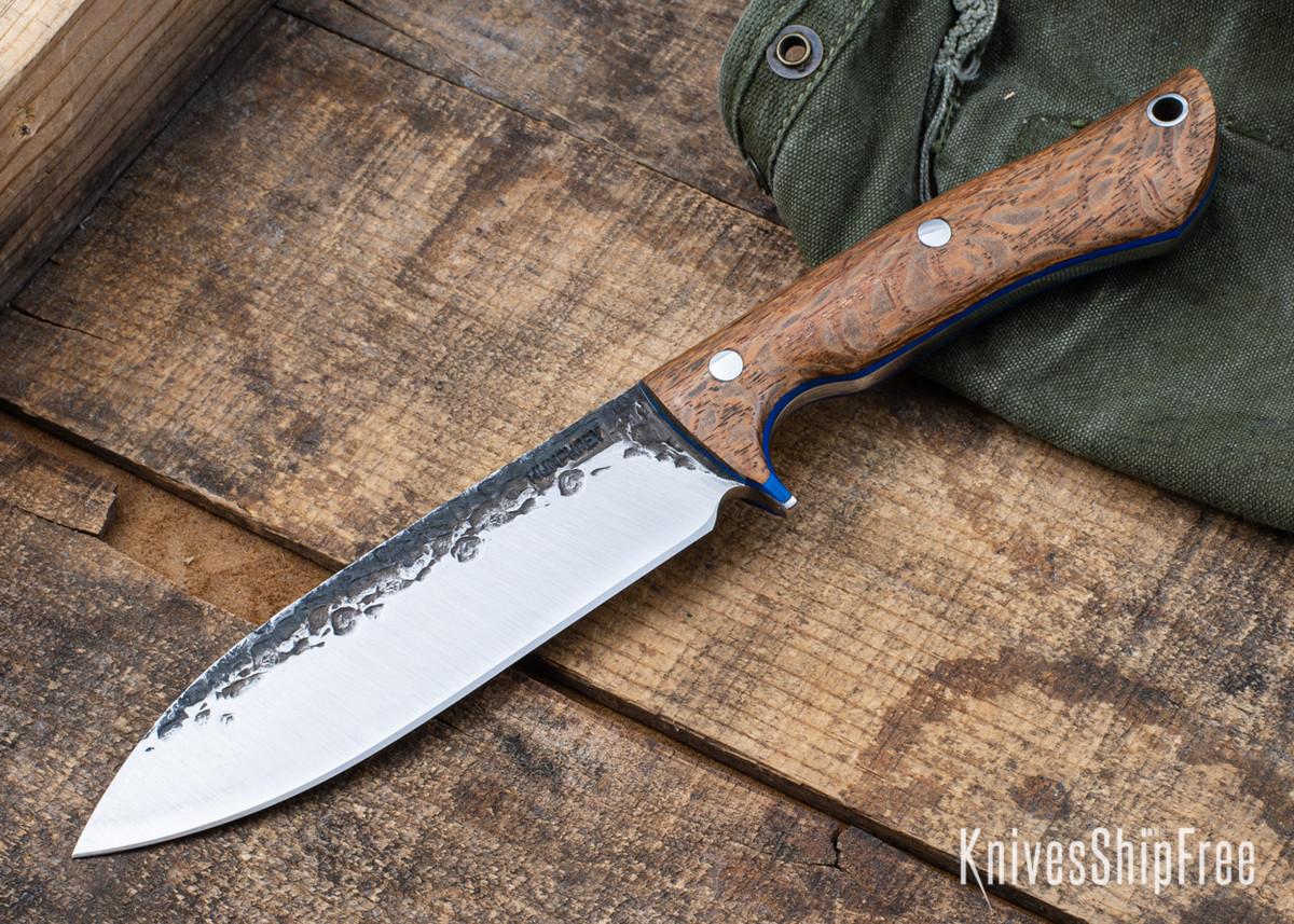 Lon Humphrey Knives: Alpha - Forged 52100 - Lacewood - Blue Liners - LH25AG079 primary image