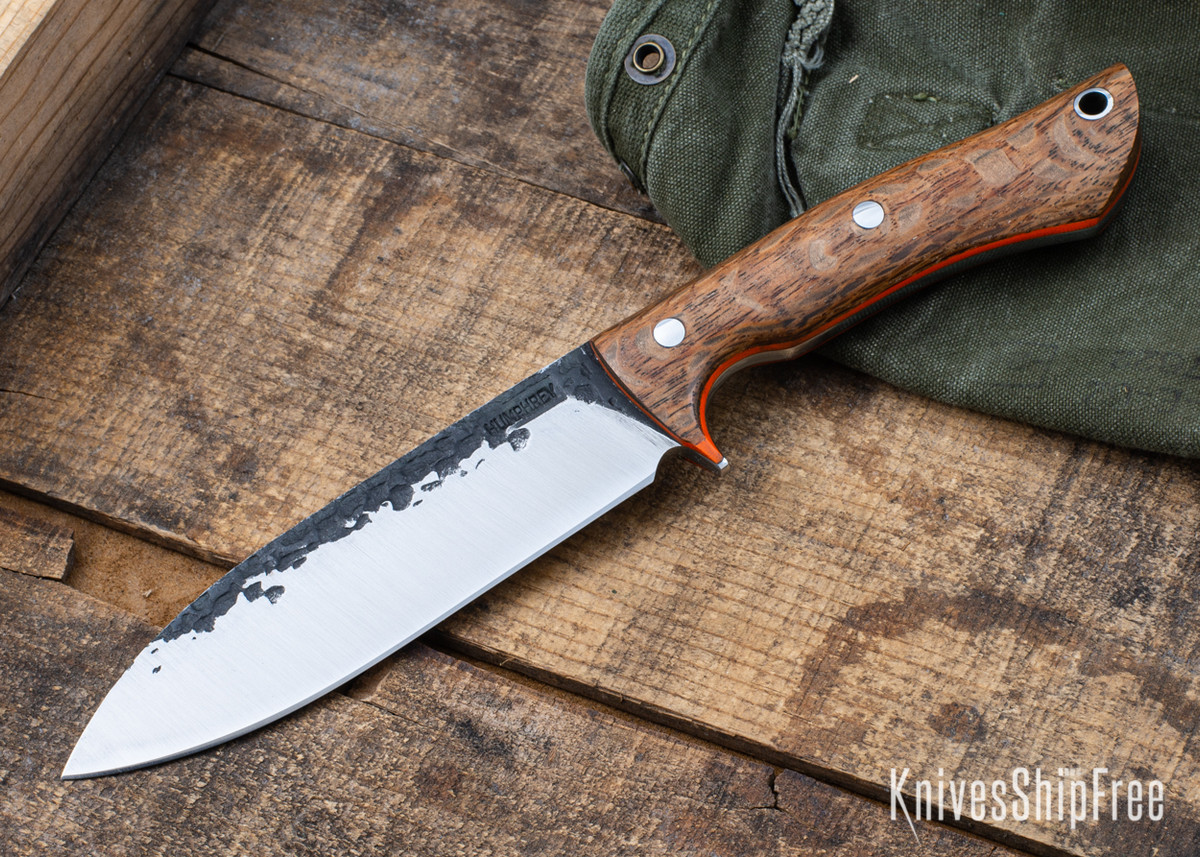 Lon Humphrey Knives: Alpha - Forged 52100 - Lacewood - Orange Liners - LH25AG082 primary image