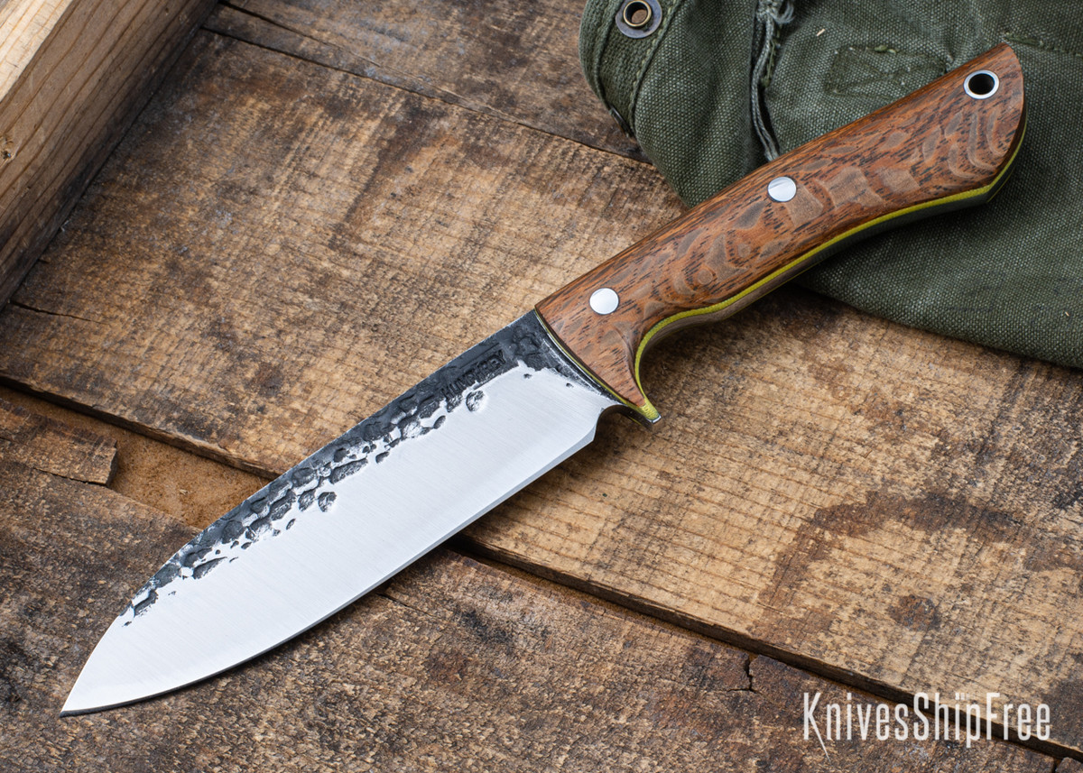 Lon Humphrey Knives: Alpha - Forged 52100 - Lacewood - Yellow Liners - LH25AG085 primary image
