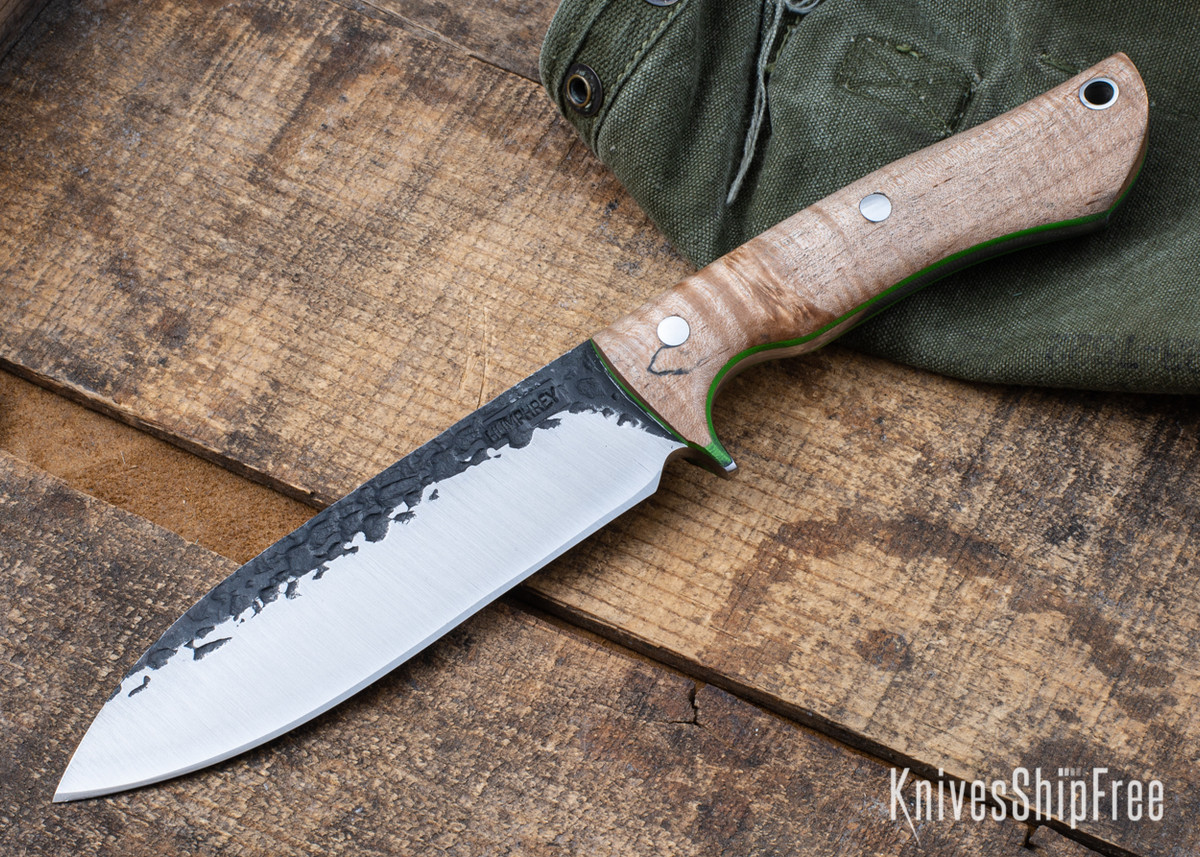 Lon Humphrey Knives: Alpha - Forged 52100 - Natural Curly Maple - Lime Green Liners - LH25AG132 primary image