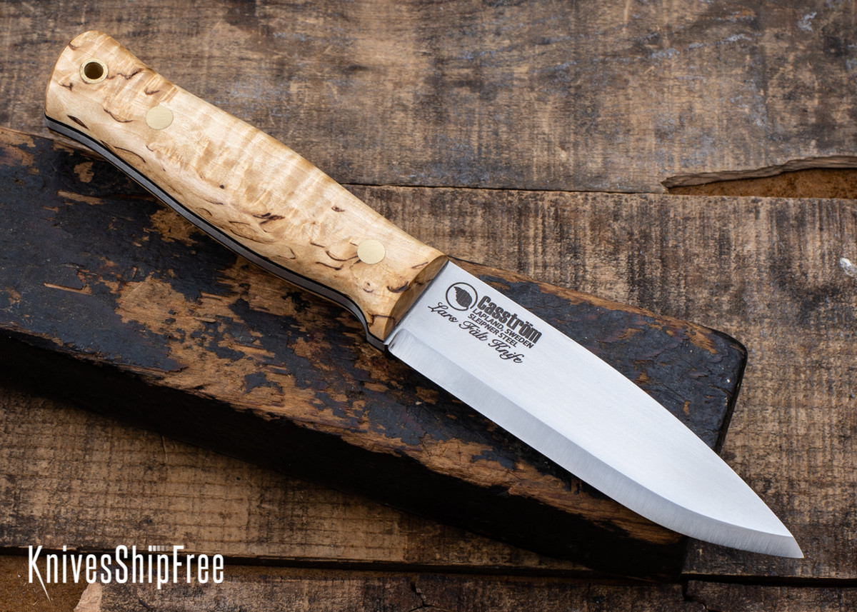 Casstrom: Lars Falt Bushcraft Knife - Sleipner Tool Steel - Curly Birch - CA24BG014