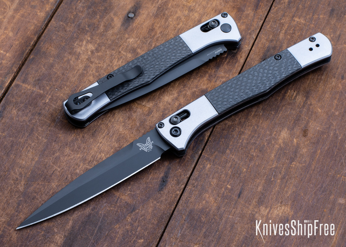 Benchmade Knives: 4170BK Auto Fact - Aluminum - Carbon Fiber Inlays - CPM-S90V - Black DLC primary image