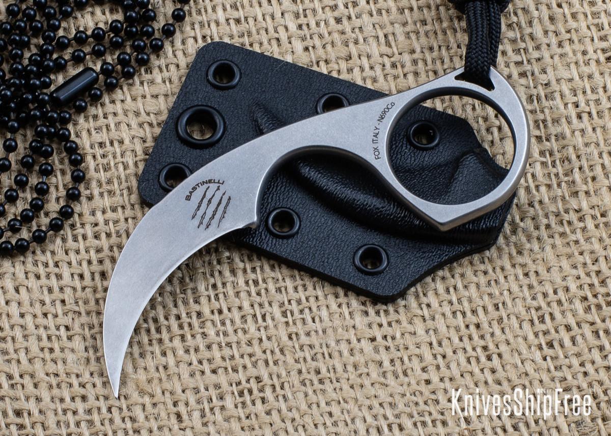 Bastinelli Knives: Diagnostic - Stonewashed N690CO - Karambit Neck Knife primary image